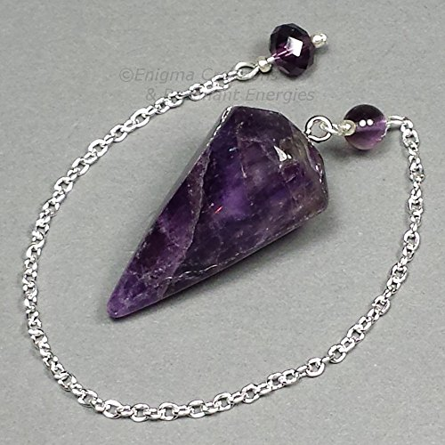 Amethyst Crystal Pendulum, Faceted Cone w/ Czech Crystal Finger Grip, SSP55 (Crystal Pendulum Finger)