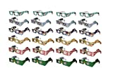 Holiday Specs 3D GLASSES-24pk Including Custom Designed Snowman Glasses, Look through Glasses and see Snowmen, Snowflakes, Santa, Gingerbread Men, Candy Canes or Reindeer Appear before your Eyes!