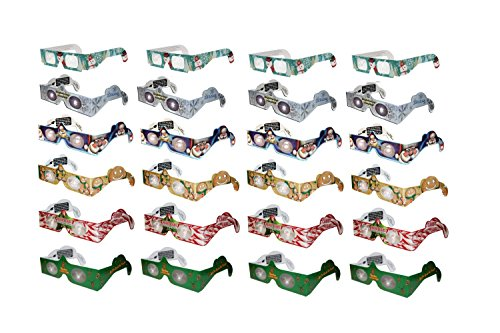 Holiday Specs 3D GLASSES-24pk Including Custom Designed Snowman Glasses, Look through Glasses and see Snowmen, Snowflakes, Santa, Gingerbread Men, Candy Canes or Reindeer Appear before your ()