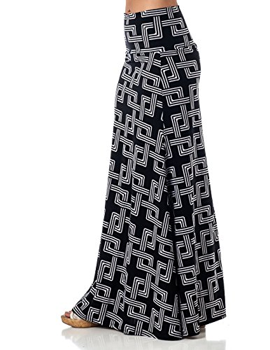 Printed Maxi Length A-line skirt with rollover waist - Interlock, XL ()