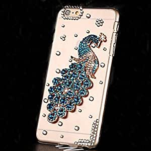 PG LUXURY Diamonds Pearl Crystal Peacock Back Cover Case for iPhone 6 Plus(Blue)