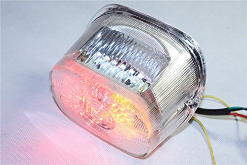 (HTT Group Motorcycle Clear Lens Led Tail Light Brake Light Turn Signal For 1996-2008 Harley Davidson Softail/1999-2007 Road King Sportster Dyna Glide Electra Glide Night Train Fat Boy Low Rider)
