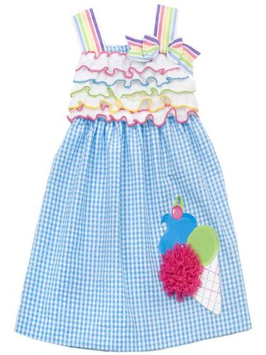 (Rare Editions Girls Ice Cream Cone Seersucker Dress , Turquoise , 5)