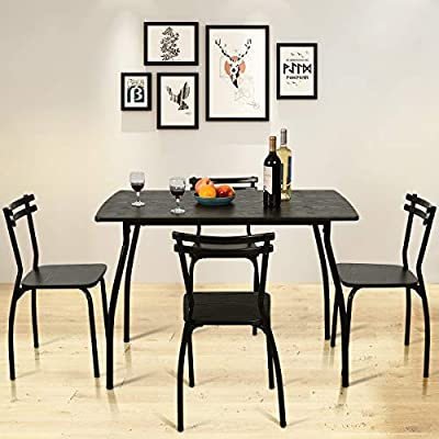 Giantex 5 PCS Dining Table and Chairs Set, Wood Metal Dining Room Breakfast Furniture Rectangular Table with 4 Chairs, Black (Style 1)