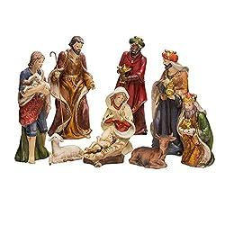 Kurt Adler 9-Inch Porcelain Nativity Figure Tablepiece Set of 9