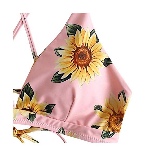 ZAFUL Set Bikini da Donna Taglio Alto Push up, Costume da Bagno Imbottiti con Motivo Girasole, Spalline Spaghetti e… 4 spesavip