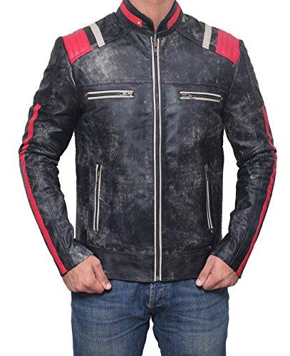 BlingSoul Mens Julius Stylish Red Strip Biker Outfits - Café Racer Raiders Leather Jacket | Black, XL (Leather Jacket Raiders)