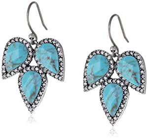 "Lucky Brand ""Winter Glimmer"" Turquoise-Color Drop Earrings, 1.75"""