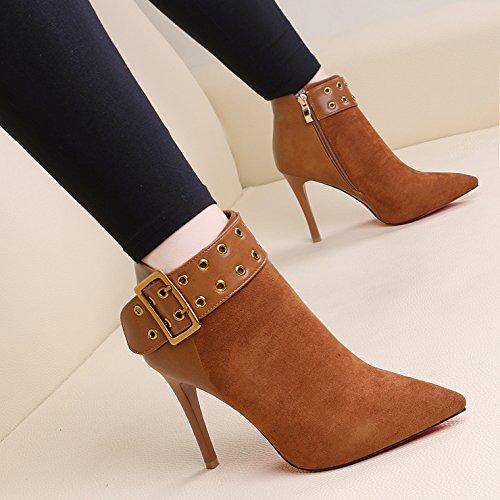 KHSKX-Mode Martin Stiefel Europäischen Und Amerikanischen Gürtelschnalle High Heel Bei Seite Reißverschluss Rivet Hat Kurze Stiefel Baumwolle Mit Stiefeln Damenschuhe brown