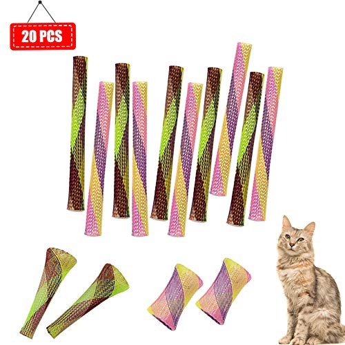 20 Packs Springy Cat Toys Cat Chase Toy Colorful Fun Tubes for Cats or Kittens, Lightweight and Elastic, Hours of…