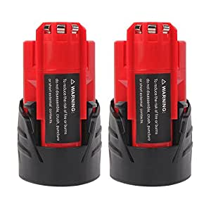 2.0Ah M12 Replacement Battery for Milwaukee 48-11-2401 48-11-2402 48-59-1812 48-11-2411 48-11-2420 48-59-1812 2510-20 48-59-2401 Cordless Power Tools(10.8V, Lithium-ion) (2-Pack)
