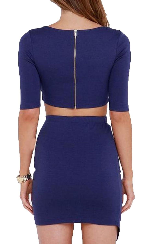 Binn Women's Half Sleeve Crop Top Solid Color Sexy Club Dress