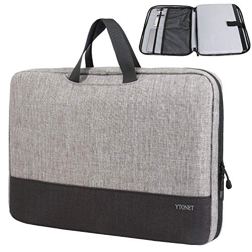15.6 Laptop Case, TSA 15.6 inch Laptop Sleeve Bag for Women Men,Lightweigh Slim Computer Carrying Case Compatible for HP Dell Lenovo Asus Mac Laptops,Notebook and Computer Protective Case,Grey Black