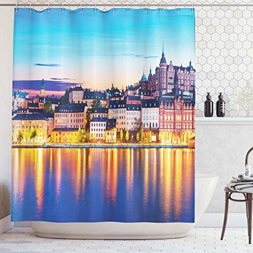 Ambesonne Wanderlust Decor Collection, Evening View of the Old Town Pier Architecture in Sodermalm District of Stockholm Sweden Picture, Polyester Fabric Bathroom Shower Curtain Set with Hooks, Yellow