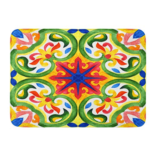 (Emvency Doormats Bath Rugs Outdoor/Indoor Door Mat Talavera Portuguese Azulejo Tiles Green Gorgeous Patterns for Cases Smartphones Towels Linens Mexican Bathroom Decor Rug Bath Mat 16
