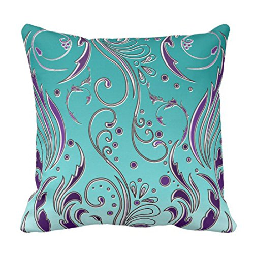 Emvency Throw Pillow Cover Floral Flourish Turquoise Purple Swirls Decorative Pillow Case Home Decor Square 20 x 20 Inch Pillowcase