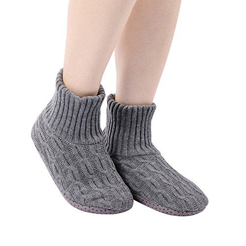 Unisex Classic Slipper Sock-Men Women Warm Comfortable Anti-slip Floor Socks - Exemaba (Grey No2(US 4.5-7))