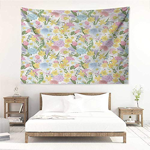 alisos Spring,Wall Decor Tapestry Valley Flowers Medley of Lilly Hydrangea Pin Cushion Protea Gardenia and Tulips 93W x 70L Inch Tapestry Wallpaper Home Decor Multicolor ()