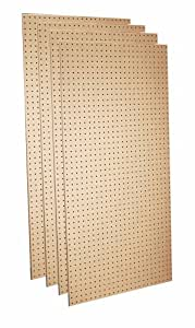 Triton Products TPB-4 Four Tempered Round Hole Pegboards 24-Inch W by 48-Inch H by 1/4-Inch D Heavy Duty Commercial Grade