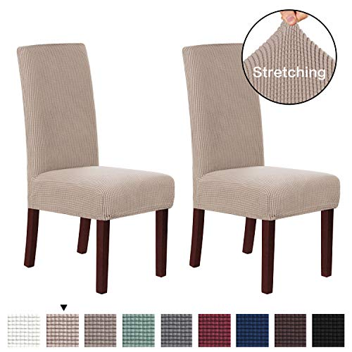 H.VERSAILTEX Super Fit Soft Spandex High Back Dining Chair Covers (Set of 2) Rich Textured Lycra Small Checks Knitted Jacquard Dining Room Chair Seat Slipcover/Protector/Shield, Sand