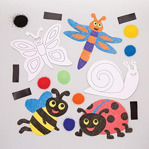 (Baker Ross Bug Sand Art Magnets (Pack of 6) Spring Themed Crafts for Kids to Decorate)