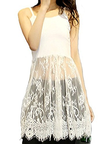 Long Vest Dress Shirt Extender with Lace (White, XX-Large)