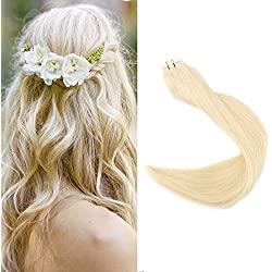 "Full Shine 18"" Color #613 Blonde Remy Straight Human Hair Extensions Seamless Tape in Skin Weft Invisible PU Tape Extensions 2.5g Per Piece 50g Per Package"