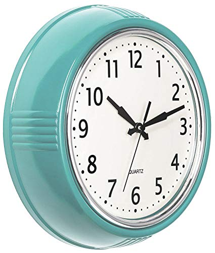 Bernhard Products Retro Wall Clock 9.5 Inch Blue Kitchen 50's Vintage Design Round Silent Non Ticking Battery Operated Quality Quartz Clock (Robin Egg Blue) (Turquoise Clock Wall)
