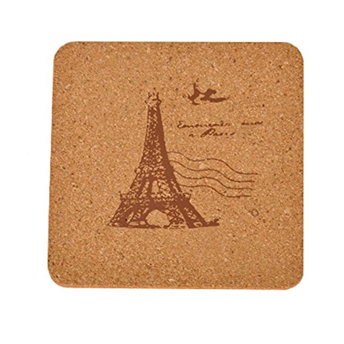 5PCS Square Cork Coasters Wooden Cup Mats Drinks Holder Placemats Table Decor