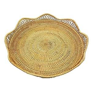 "Vietnamese Handmade Rattan Round Tray. Rattan 15.8"" Diameter Disc. Tray Containing Fruits, Vegetables, Food, etc. Natural Rattan Basket."