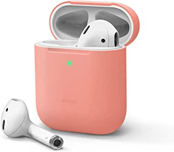 elago Skinny AirPods Case Cover Compatible with Apple AirPods 1&2 - Premium Silicone, Upgraded Thin, Front LED Visible, No Hinge, Supports Wireless Charging (Peach)