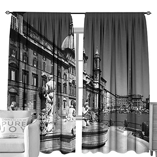 Andrea Sam Blackout Curtain Fountain of Neptune in Piazza Navona in Rome, Italy. W120 x L108 inch,for Small Window