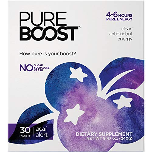 Pureboost Clean Energy Drink Mix. Contains No Sugar No Sucralose. Healthy Energy Loaded with B12, Antioxidants, 25 Vitamins, Electrolytes. (Acai Alert, 30 Count)