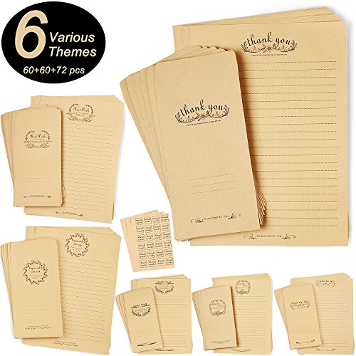 CenterZ 6 Themes Kraft Stationery Paper, Envelopes with Seals Set, 60pcs B5 Size 7.1x9.9 Vintage Stationary Writing Papers + 60pcs 3.94x7.2 Kraft Letter Envelope + 72pcs Hand Made Rustic Seal ()