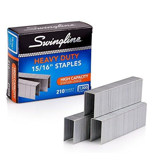 "Swingline Staples, Heavy Duty, 15/16"" Length, 210 Sheet Capacity, 100/Strip, 1000/Box, 1 Pack (35320)"