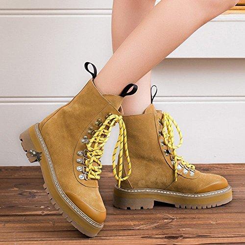 Stivali Stivali Donne Stivali Corti Spessore Occidentali Martin Negli Paio Giallo Casual Di Spongebob Di Tubo DXD Donna Stivali Modelli gB5wxzqx