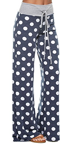 Marilyn & Main Women's Comfy Soft Stretch Floral Polka Dot Pajama Pants,Large,Navy Polka Dot (Tween Leggings)