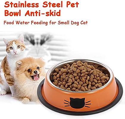 Fesjoy Cuenco de Mascota Bandeja de Comida para Perros y Gatos ...
