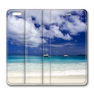 Beautiful Tropical Seascape iPhone 6 Plus 5.5inch Leather Case, Personalized Protective Slim Fit Skin Cover For Iphone 6 Plus [Stand Feature] Flip Case Cover for New iPhone 6 Plus