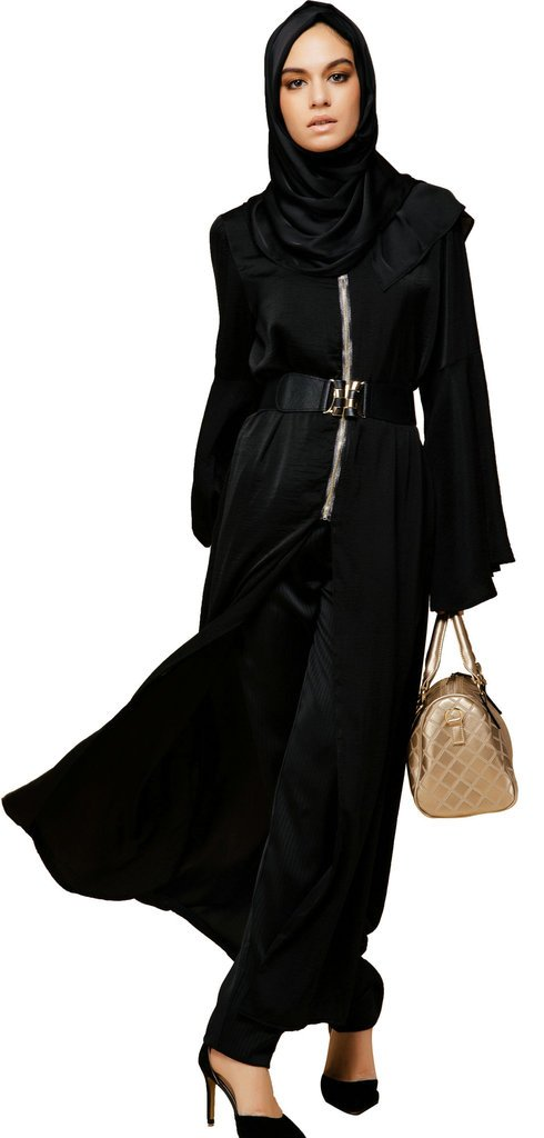 YI HENG MEI Women's Elegant Modest Muslim Islamic Rayon Bell Sleeve Long Trench Coat with Zipper,Black,XL
