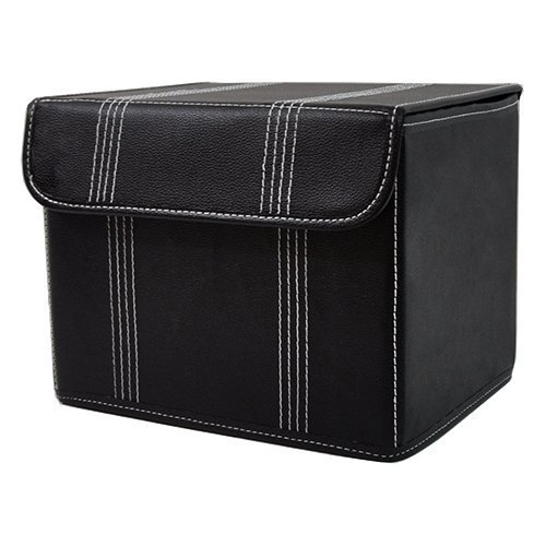 The Lucky Clover Trading Roosevelt Faux Leather Storage Box with Lid, Black The Lucky Clover Trading Co. 6114BL