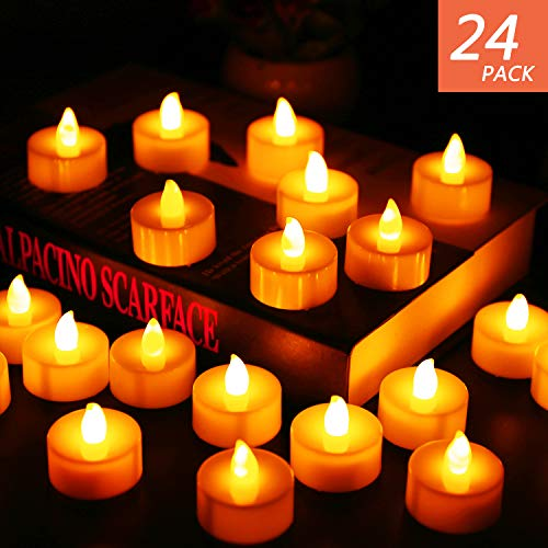 Divine Dinner Party Halloween (Flameless Candles, LED Tea Light Candles With Battery-Powered wedding Candles Decorations For Parties Events Tealight Candles (24)
