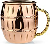 Cheap Circleware The Authentic Original Barrel Shaped Moscow Mule Copper Mug, 100% Pure Solid Copper Handcrafted Beer MUG / Drink Cup 16 Ounce, Nickel Lining with Brass Handle, Special Limited Edition