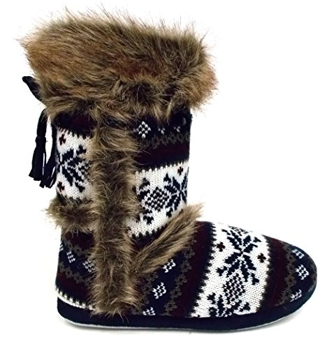 7d6762f0b1db14 Womens Annabelle Gretel Farrah Fairisle DUNLOP Fluffy Warm Knitted Slipper  Boots - Buy Online in Oman.   Shoes Products in Oman - See Prices, ...