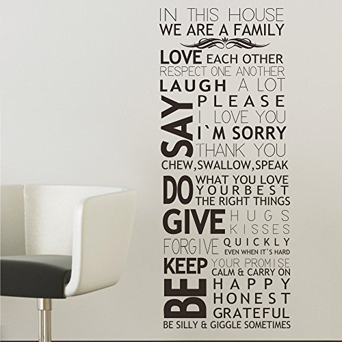 MairGwall Housae Rules Wall Decal Family Vinyl Wall Art Sticker - In This House (Black, (Small Deco House)