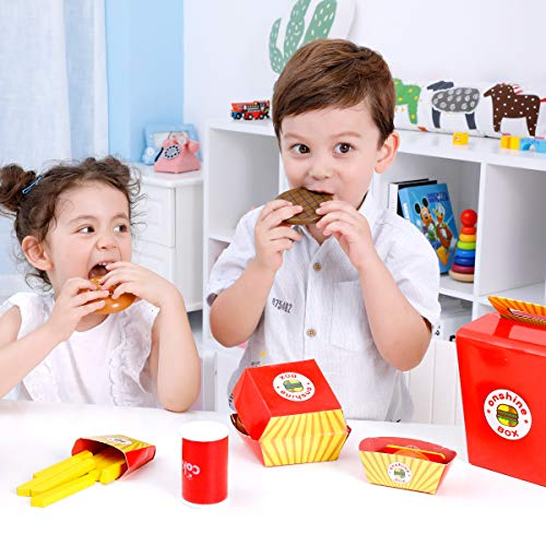 Onshine Wooden Fast Food Toy Set Pretend Play Food Cooking Set for Kids-26pcs