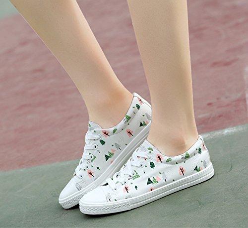 Aisun Damen Klassich Flach Runde Zehen Canvas Bäume Muster Low Top Schnürsenkel Sneakers Weiß