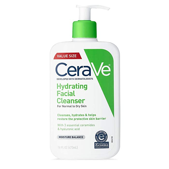 CeraVe Hydrating Face Wash | 16 Ounce | Daily Facial Cleanser for Dry Skin | Paraben & Fragrance Free