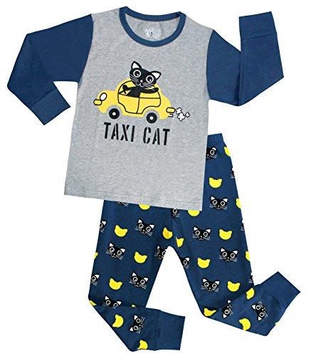Boys Pajamas Cotton Taxi Cats Kids 2 Piece Sleepwear Clothes Sets Grey 9T