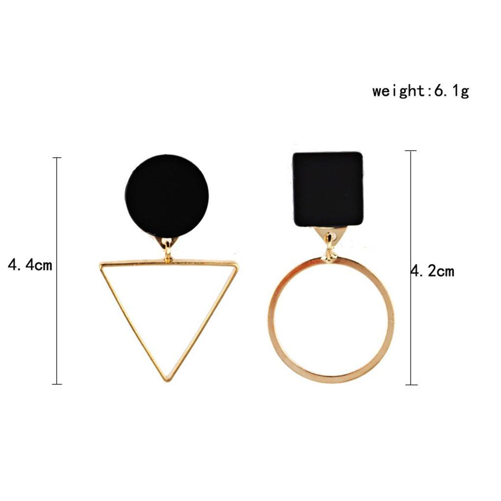 Bobury 1 Pair Triangular Round Geometric Earrings Asymmetric Drop Dangle Earrings Women Girls Party Jewelry